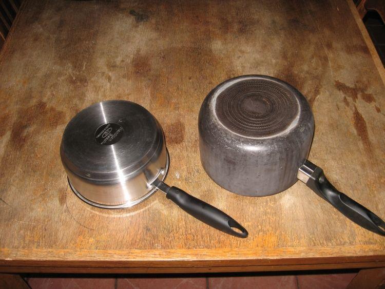 Aluminum clad, and cast pans
