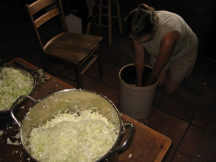 Nan packing the Sauerkraut