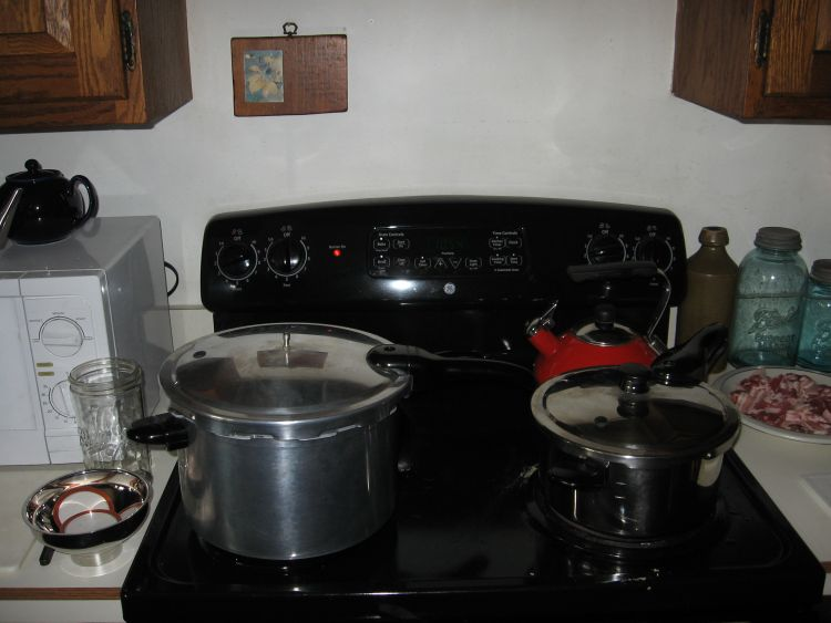 Two pressure cookers at work.